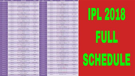 full hd video time table full schedule of vivo ipl 2018 ipl 2018 live