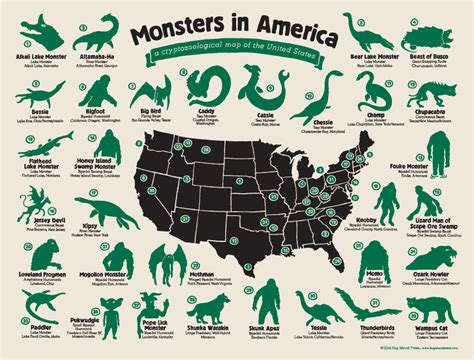 mythical monsters names the full map of monsters in america