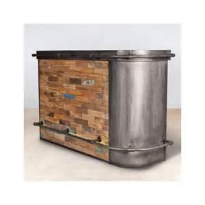 meuble bar bois recycl 233 angle gauche 164x60 caravelle