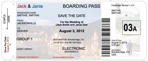 boarding pass save the date a little more realistic