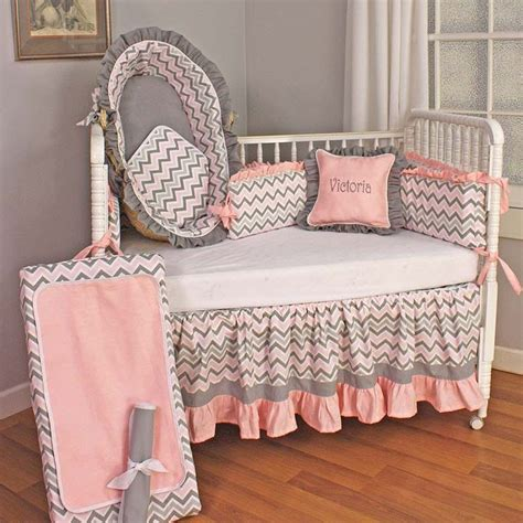 pink chevron baby bedding chevron pink crib bedding set by hoohobbers