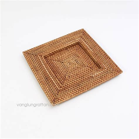 square charger plates square bamboo rattan charger plate 33x33xh2cm