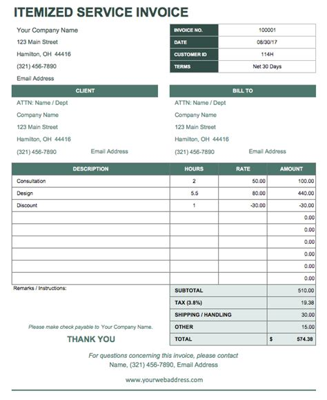 itemized invoice template 13 free business receipt templates smartsheet