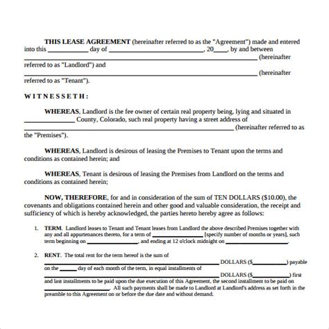 housing lease template rental lease agreement sles exles formats 8