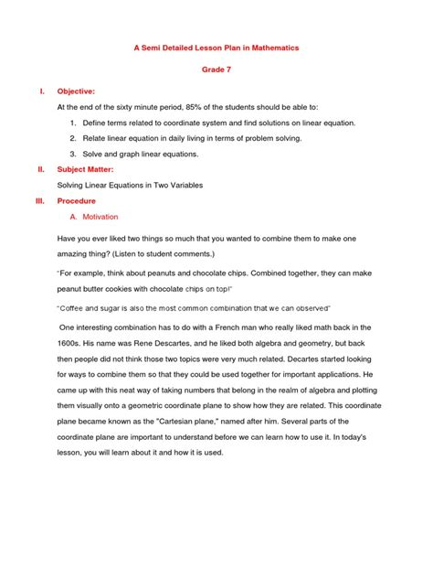 semi biographical definition a semi detailed lesson plan in mathematics