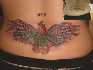 tribal tattoo cover ups lower back award winning tattoo cover up rose and wings lower back