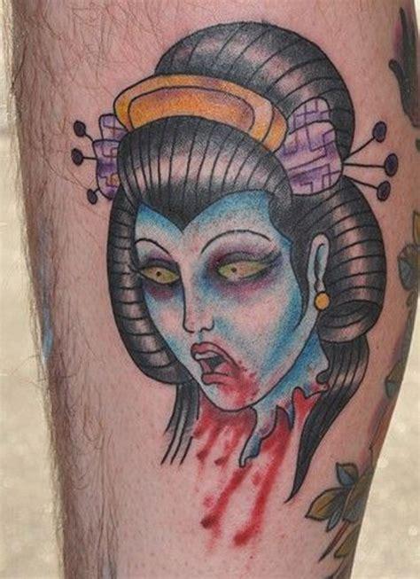 tattoo geisha head horror style asian geisha s severed bloody head colored