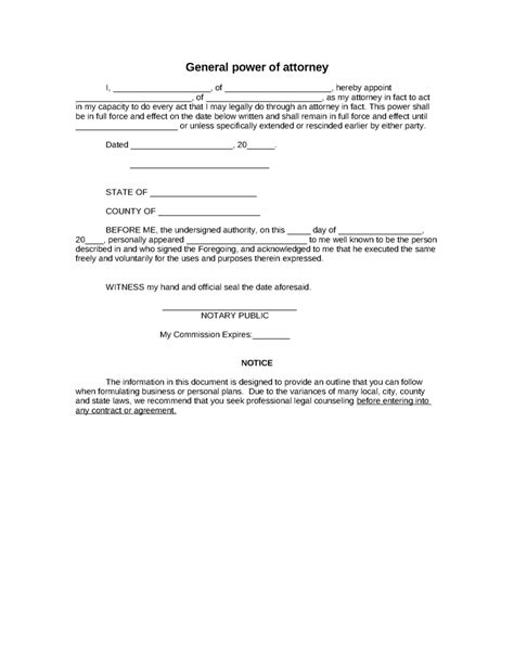 business power of attorney template sle general power of attorney form 8ws templates