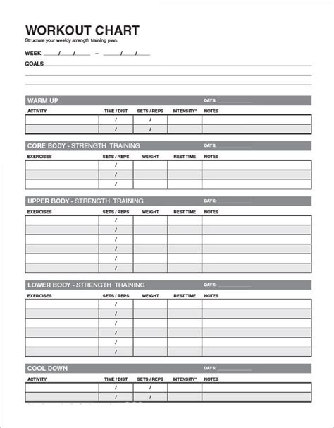 template for exercise program 4 workout schedule templates