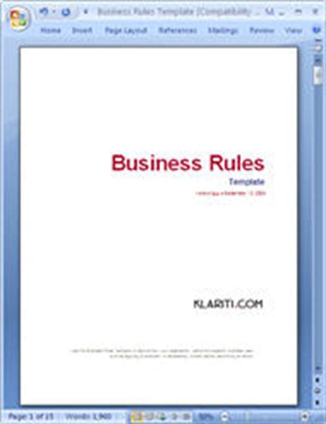 templates for business rules 5 x user guide templates ms word