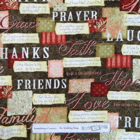 Country Patchwork - country patchwork quilting words to live by brown cotton