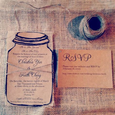 wedding invitation with rsvp attached rustic kraft jar wedding invitation with