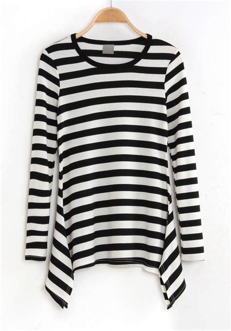 sleeve print striped t shirt multicolor striped print sleeve cotton blend t shirt