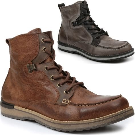 mens leather boots casual gbx mens draft boots genuine leather moc toe ankle high