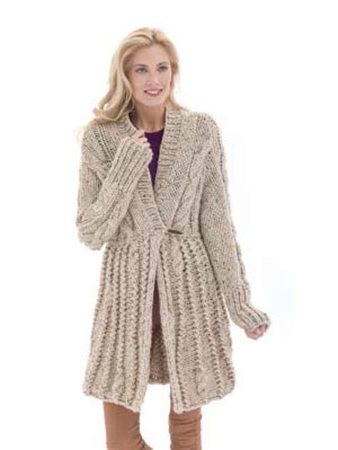 coat pattern ease galway elongated cardigan in lion brand wool ease thick