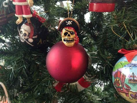 buy pirate skull top red ball christmas tree ornament