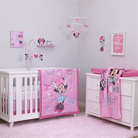minnie mouse crib bedding nursery set disney baby minnie mouse all about bows 4 nursery crib bedding set pink ebay
