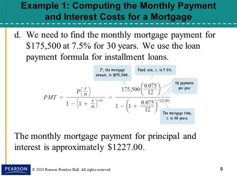Credit Formula Payment 167 8 5 Installment Loans Amortization And Credit Cards Ppt
