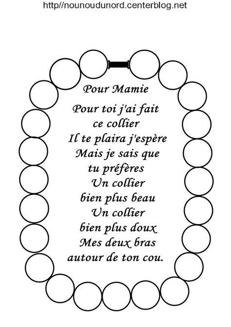 Collier à poème bonne fête mamie, mémé,mamou