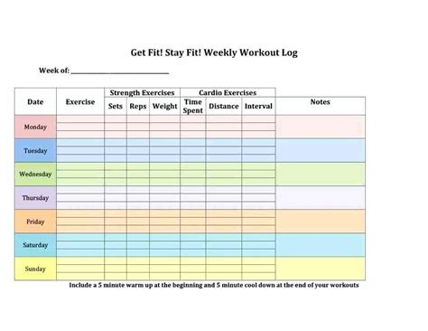 Exercise Program Card Template by Printable Workout Log Work Out Logs This Workout