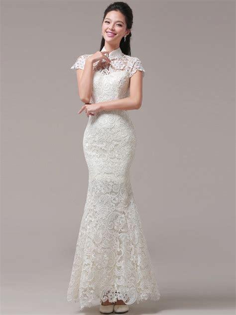 Cheongsam Dress White white fishtail qipao cheongsam wedding dress cozyladywear