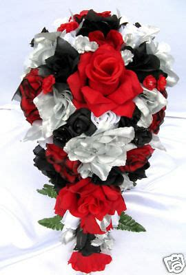 21pc bridal bouquet wedding flower black silver ebay