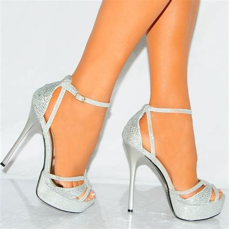 silver sparkle high heels silver strappy glitter shimmer sparkly stiletto