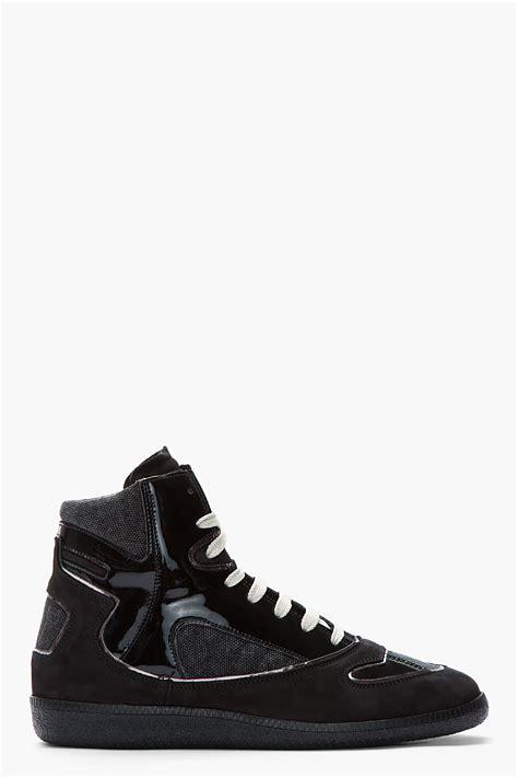 maison martin margiela sneakers maison martin margiela black patent leather canvas high