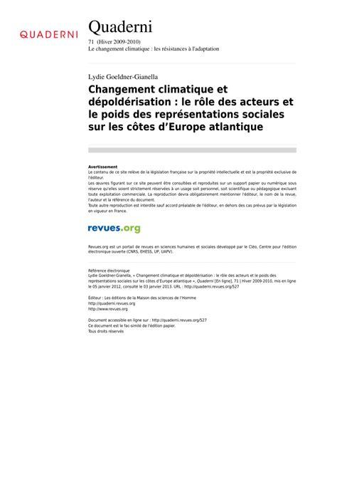 changement si鑒e social association changement climatique et d 233 pold 233 risation le r 244 le des
