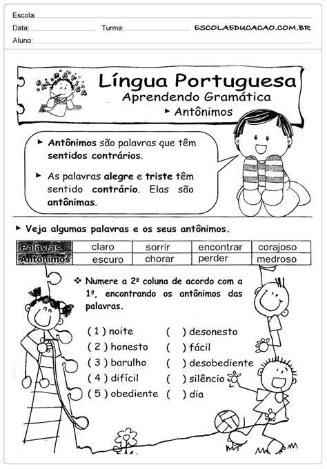 Atividades de Português 3º ano - Antônimos - Escola Educação