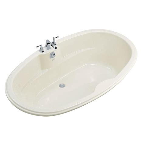 kohler proflex 6 ft center drain drop in oval bathtub in