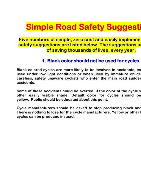 Importance Of Road Safety In India Essay by Simpe Road Safety Suggestions
