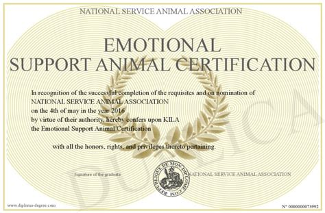 emotional support certification emotional support animal certification