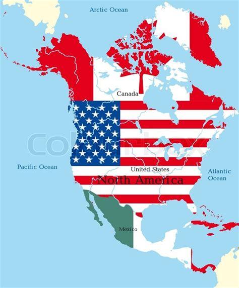 north america map with flags abstrakte karte von nordamerika von flaggen farbig stock