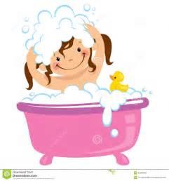 Baby kid girl bathing in bath tub and washing hair stock illustration