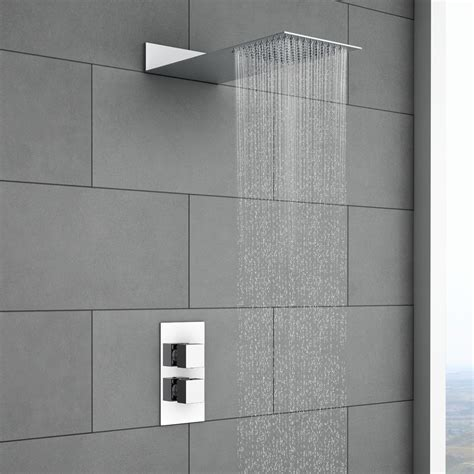Over Bath Showers milan square shower package with concealed valve amp flat