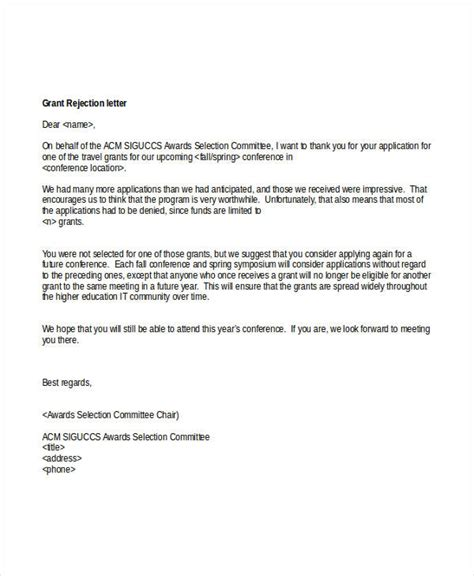 Business Rejection Letter Response 6 grant rejection letters free sle exle format