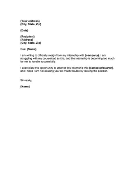 Resignation Letter Overworked Internship Resignation Letter