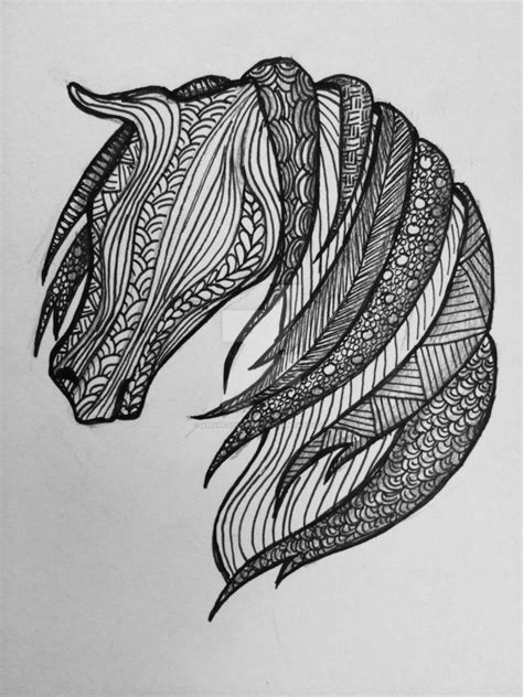 pattern drawing animals zentangle patterned horse by amandaruthart on deviantart