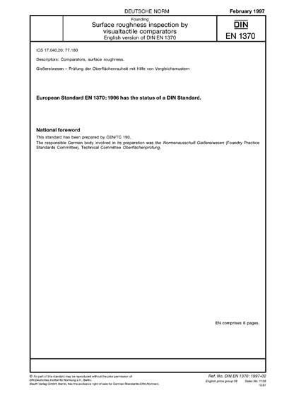 DIN EN 1370:1997 - Founding - Surface roughness inspection