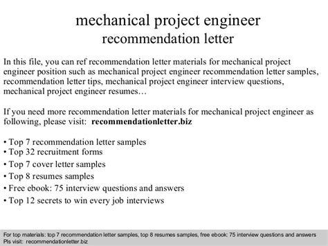 Cover Letter For Mechanical Project Engineer by Mechanical Project Engineer Recommendation Letter