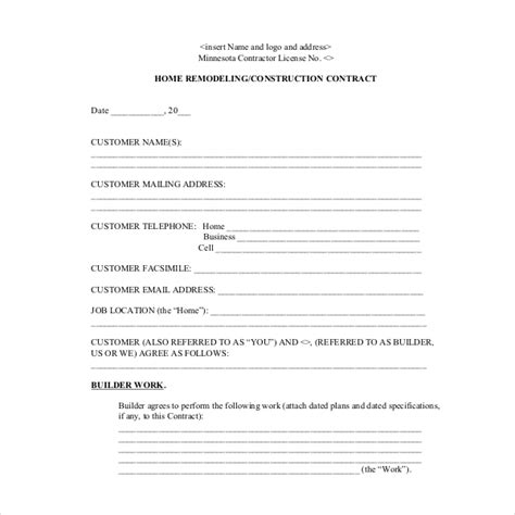 contractor change order form template construction work order form construction change order