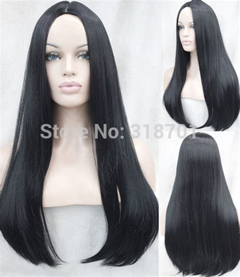new wig styles for 2015 chic long straight top grade synthetic wig black new