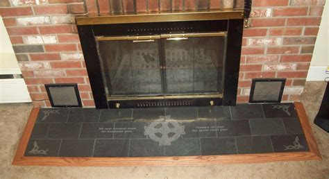 Slate Fireplace Hearth by Handmade Engraved Slate Fireplace Hearth With Celtic And
