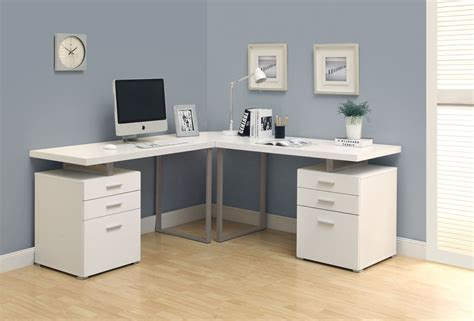Corner Study Desk Corner Study Desk With Hutch Modern White High Gloss Finish Office Desk Soft Grey Wall Color