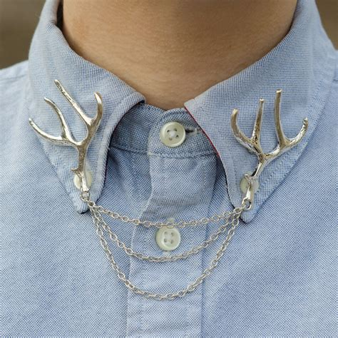chain collars silver deer antler collar clip collar chain by dapperandswag