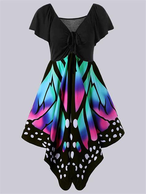 Empire Waist Print Dress 2018 plus size empire waist butterfly print dress black
