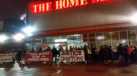 cites home depot janitors strike against poverty