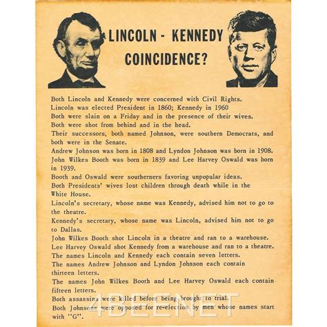 abe lincoln and jfk abraham lincoln f kennedy coincidences poster