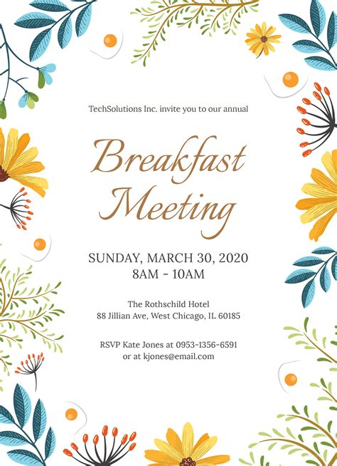 Free Corporate Breakfast Invitation Template In Ms Word Publisher Illustrator Apple Pages Free Breakfast At S Invitation Template